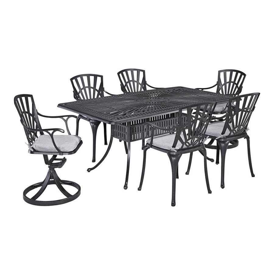 Home Styles Largo 7-Piece Charcoal Aluminum Patio Dining Set