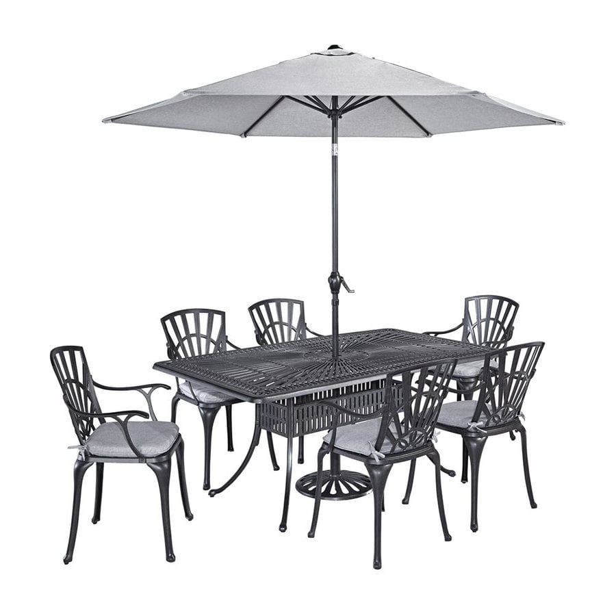 Home Styles Largo 8-Piece Charcoal Aluminum Patio Dining Set