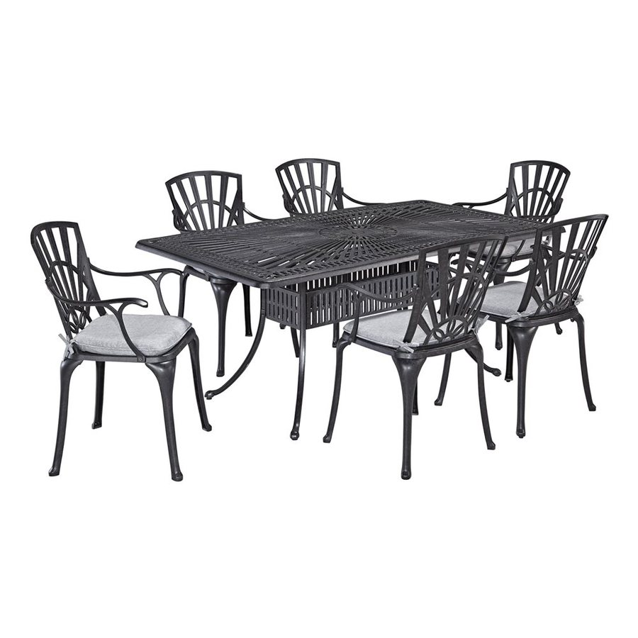 Home Styles Largo 7-Piece Charcoal Aluminum Dining Patio Dining Set with Gray Tone Cushions Included