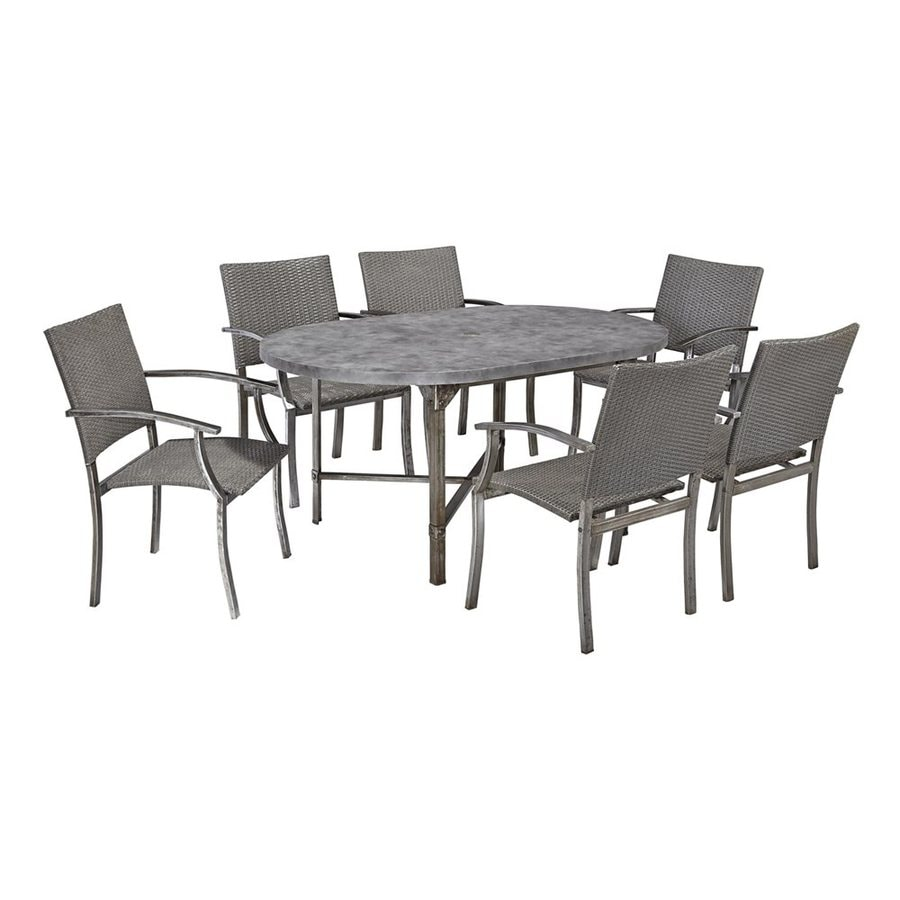 Home Styles Urban Outdoor 7-Piece Aged Metal Concrete Patio Dining Set