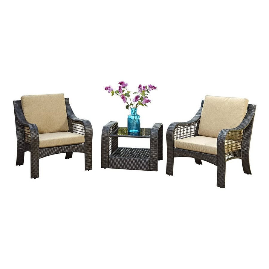 Home Styles Lanai Breeze 3-Piece Wicker Patio Conversation Set
