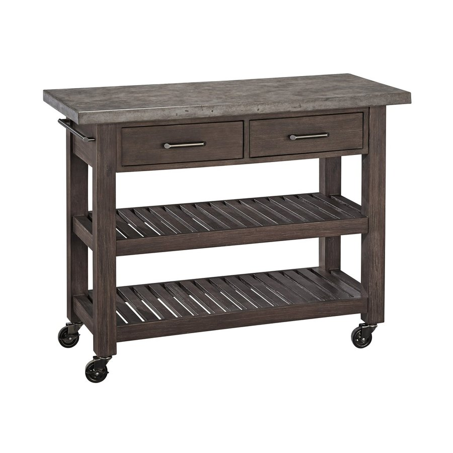 Home Styles Concrete Chic Brown/Gray Acacia Outdoor Serving Cart