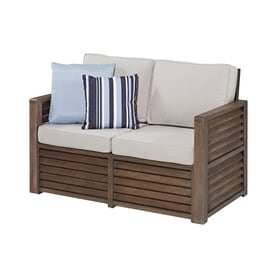 Home Styles Barnside Outdoor Loveseat With Solid Steel Gray Cushion And Aged Sa Frame