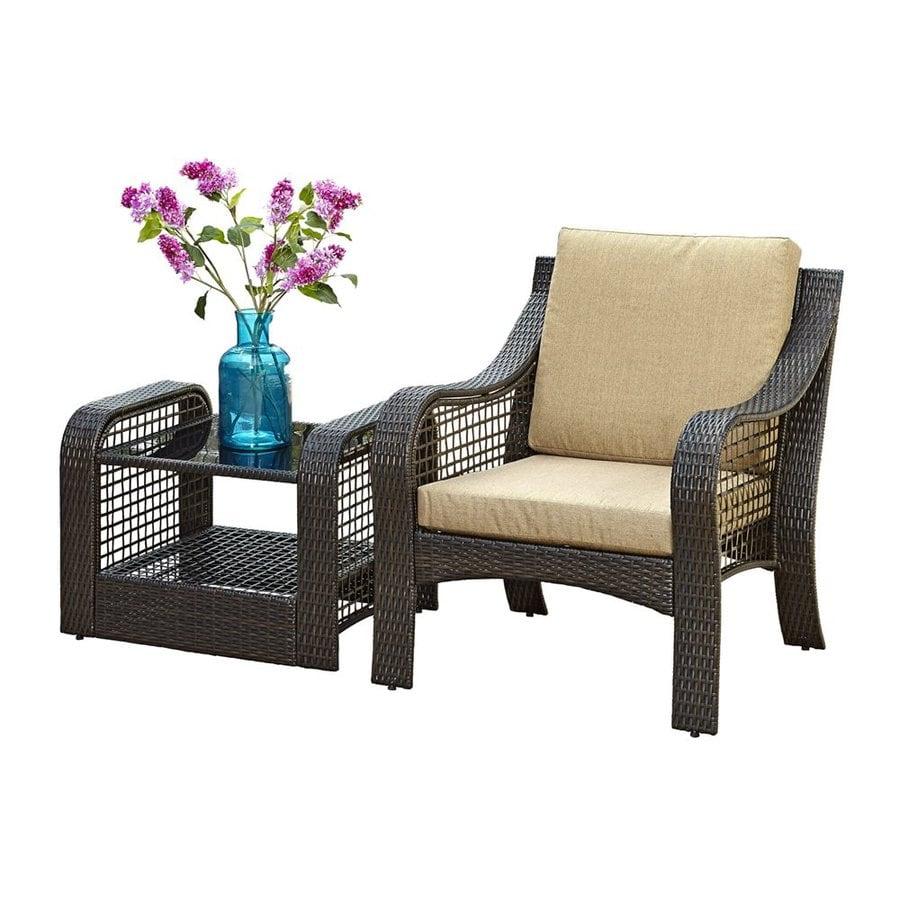Home Styles Lanai Breeze Deep Brown Woven Vinyl Patio Conversation Chair