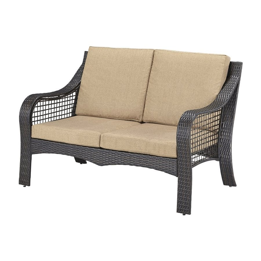 Home Styles Lanai Breeze Solid Cushion Deep Brown Wicker Loveseat