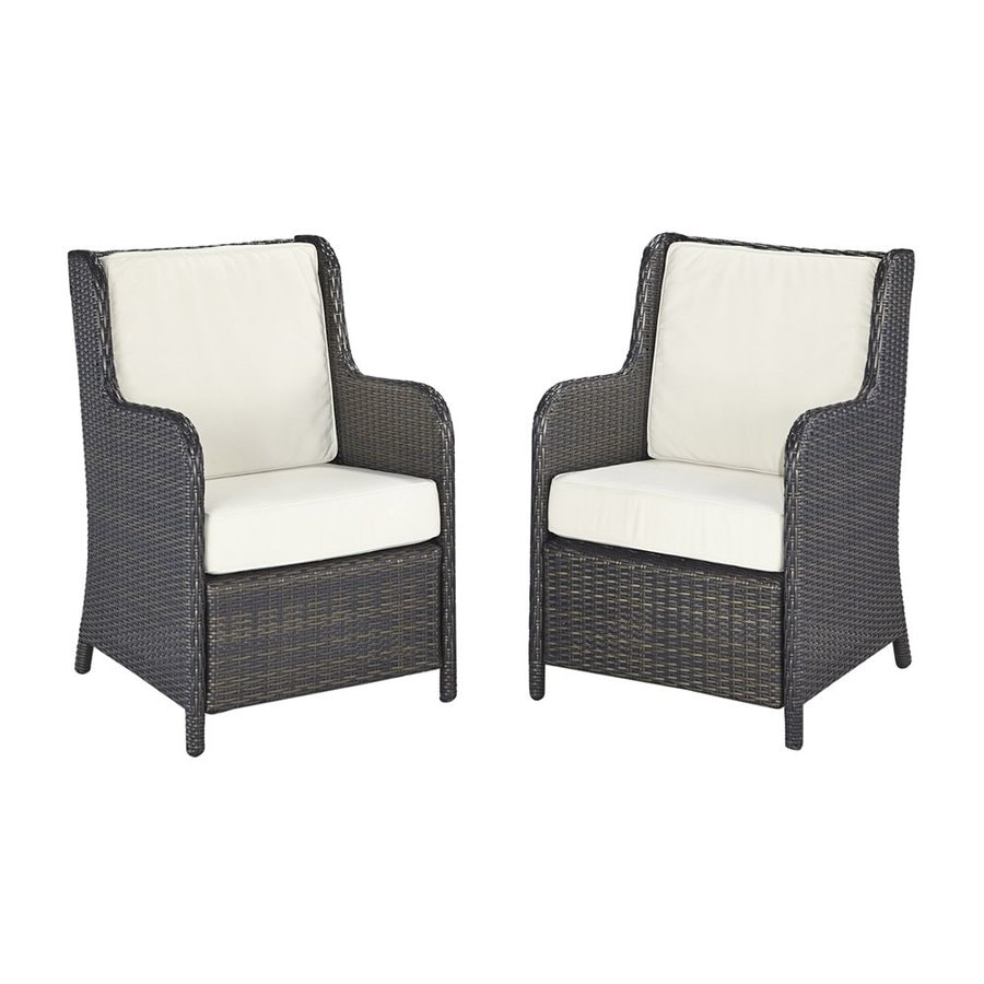 Home Styles Riviera 2-Count Deep Brown Woven Vinyl Patio Conversation Chairs