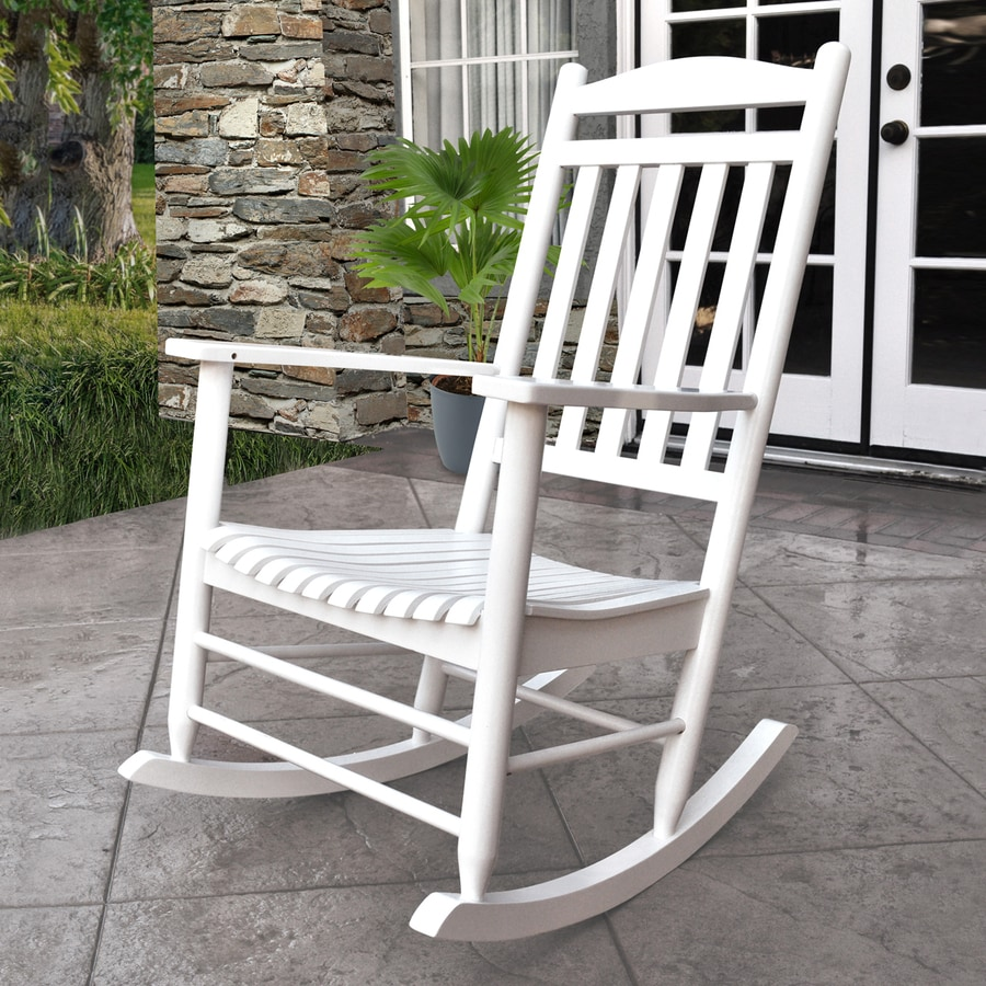 Shine Company Maine White Composite Patio Rocking Chair
