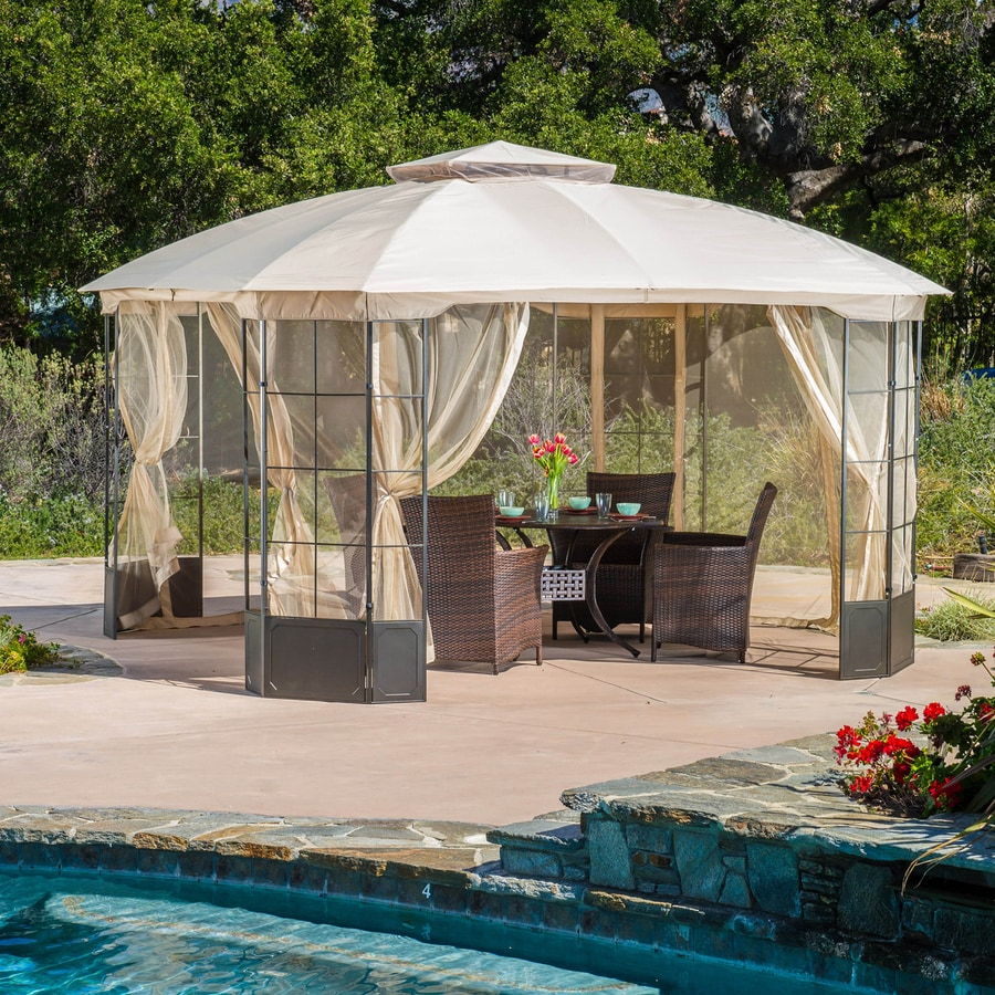 Best Selling Home Decor Westerly Camel Steel Octagon Screened Gazebo (Exterior: 13-ft x 13-ft; Foundation: 9.75-ft x 9.75 Feet)