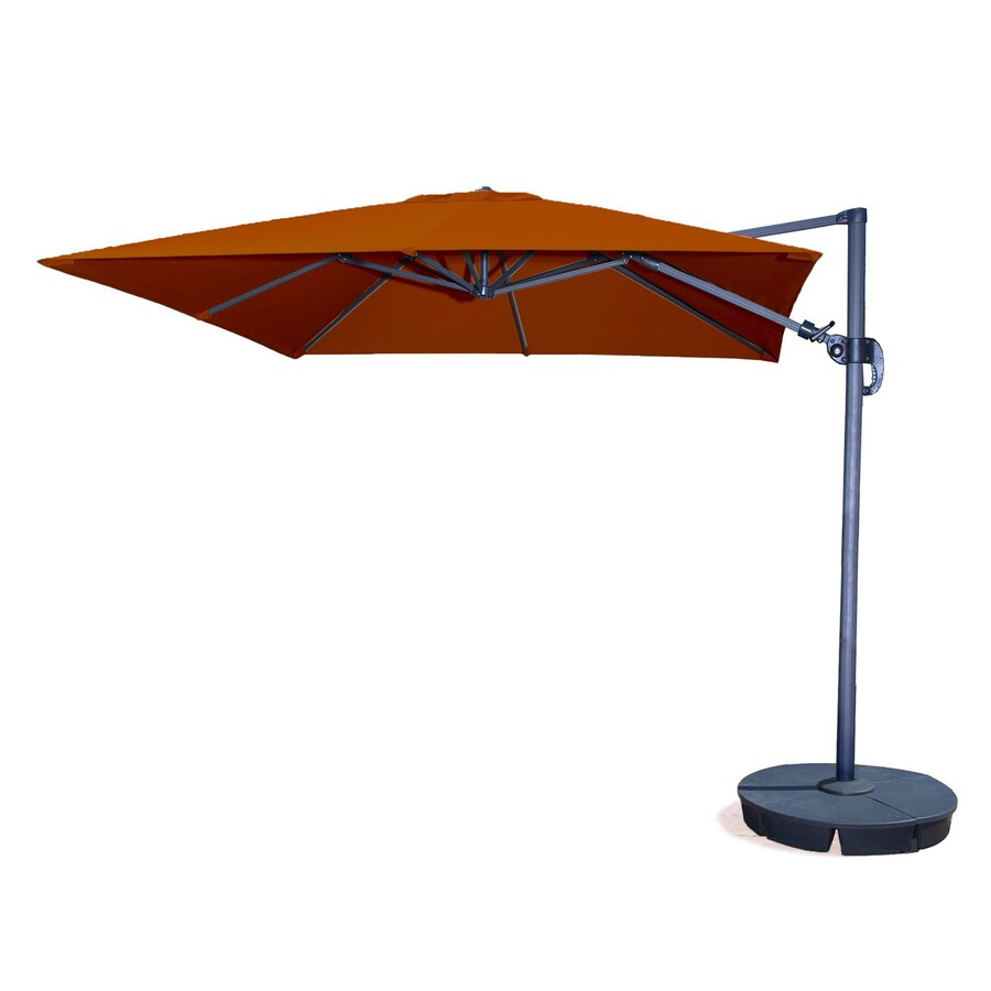 Blue Wave Santorini II Terra Cotta Offset Patio Umbrella with Base (Common: 10-ft W x 11.5-ft L; Actual: 10-ft W x 11.34-ft L)