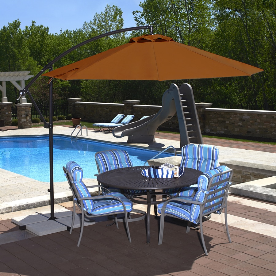 Blue Wave Santiago Terra Cotta Offset Patio Umbrella With Base (Common: 10  Ft