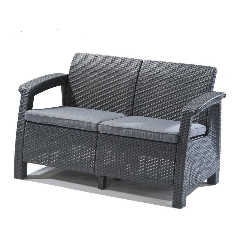 Display Product Reviews For Corfu Outdoor Loveseat With Solid Gray Cushion  And Gray Polyethylene Frame