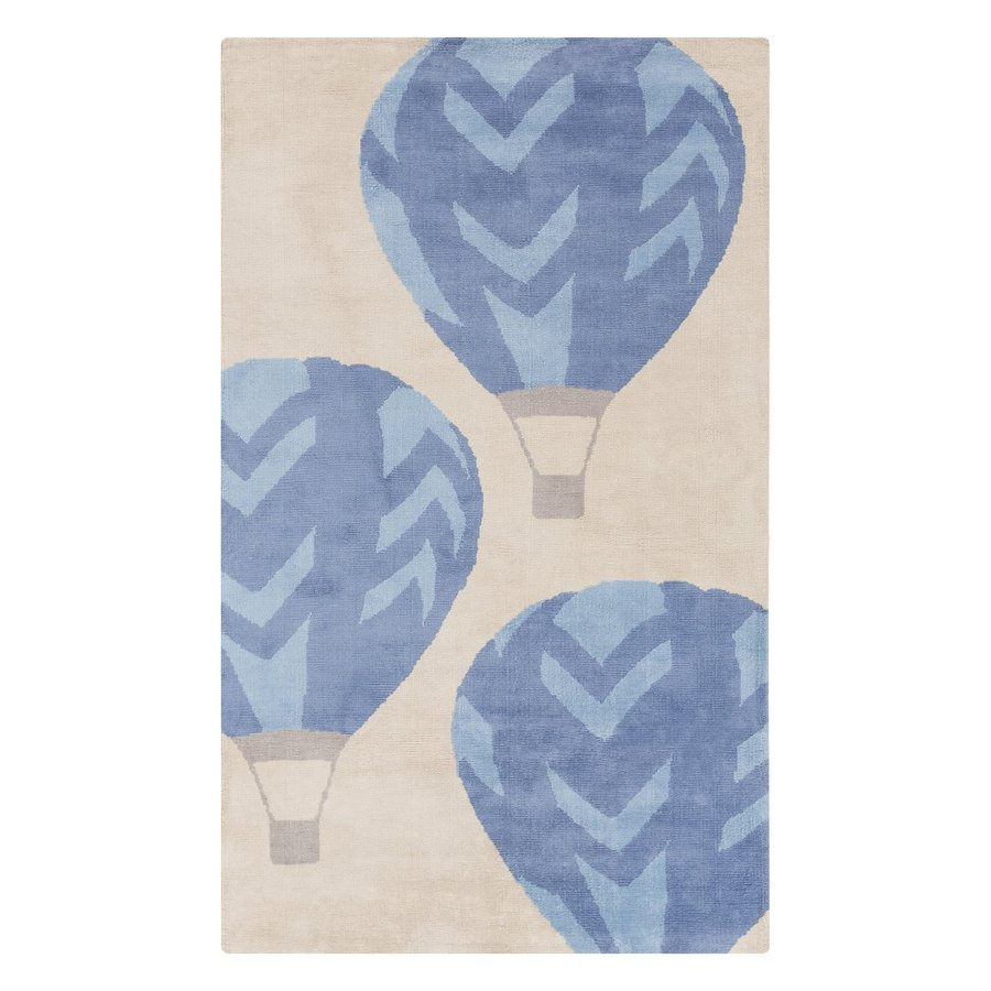 Surya Abigail Rectangular Blue Hot Air Balloons Woven Polyester Area Rug  (Common: 5