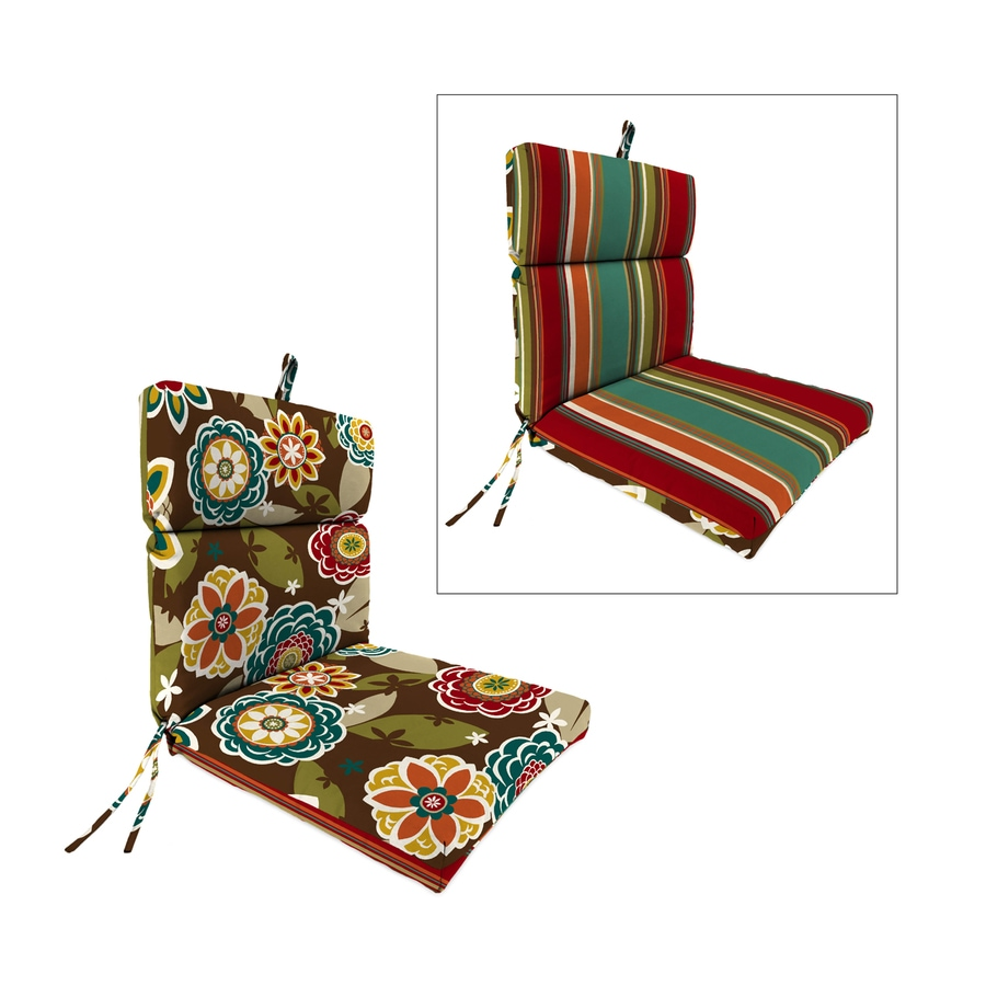 Jordan Manufacturing Annie Chocolate/Westport Teal Floral Standard Patio Chair Cushion