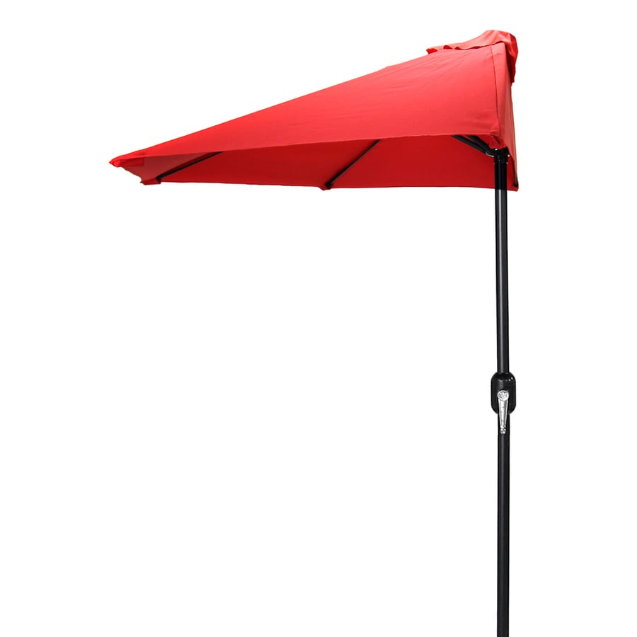 Jordan Manufacturing Red Market Patio Umbrella (Common: 4-ft W x 7-ft L; Actual: 3.84-ft W x 7.17-ft L)