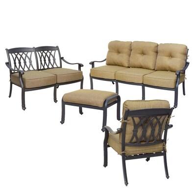 Outstanding Darlee San Marcos 4 Piece Aluminum Frame Patio Conversation Gamerscity Chair Design For Home Gamerscityorg