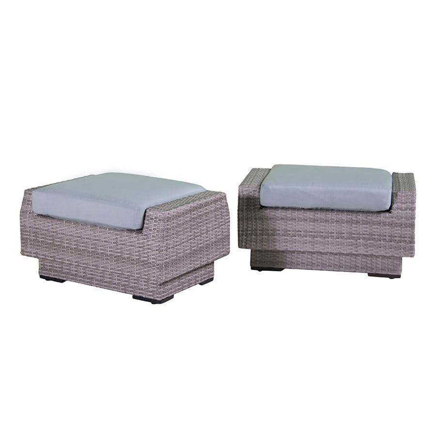RST Brands Cannes Bliss Blue Wicker Ottoman