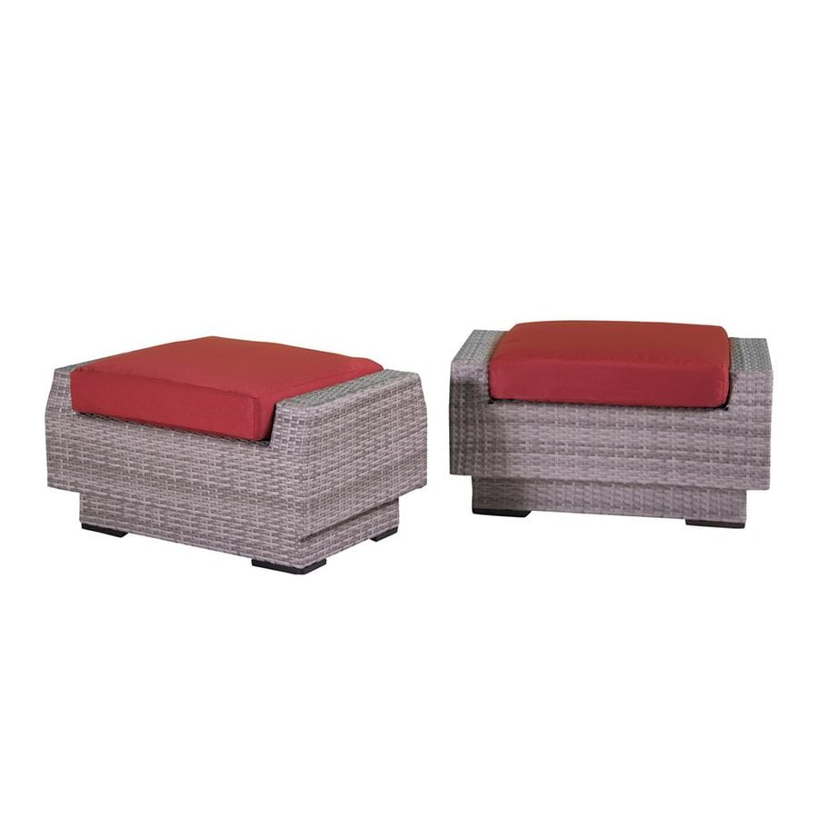 RST Brands Cannes Cantina Red Wicker Ottoman