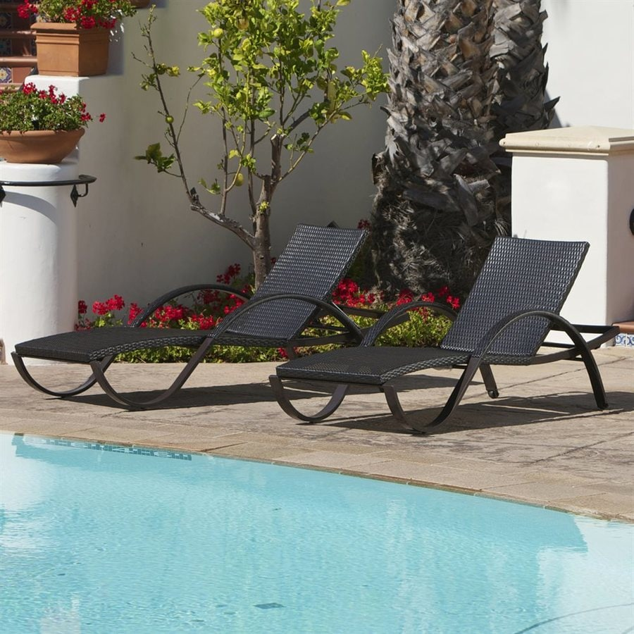 RST Brands Deco 2-Count Espresso Aluminum Wicker Stackable Patio Chaise Lounge Chair With
