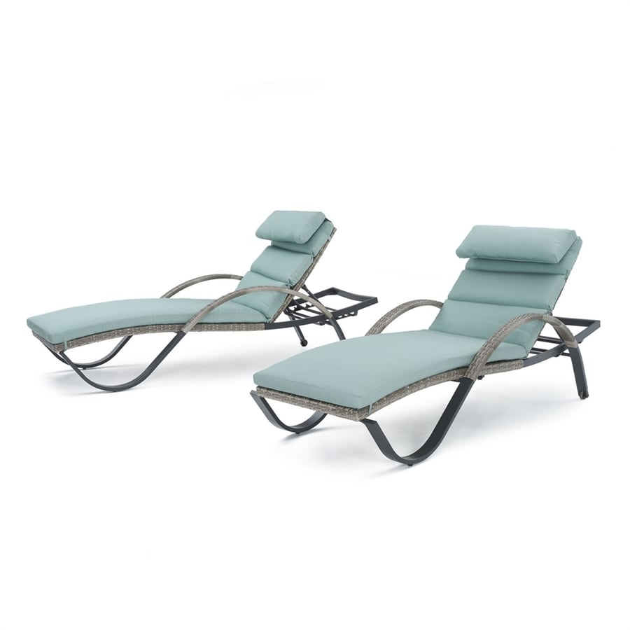 RST Brands Cannes 2-Count Weathered Grey Aluminum Wicker Stackable Patio Chaise Lounge Chair with Bliss Blue Sunsharp Cushion(S) Included