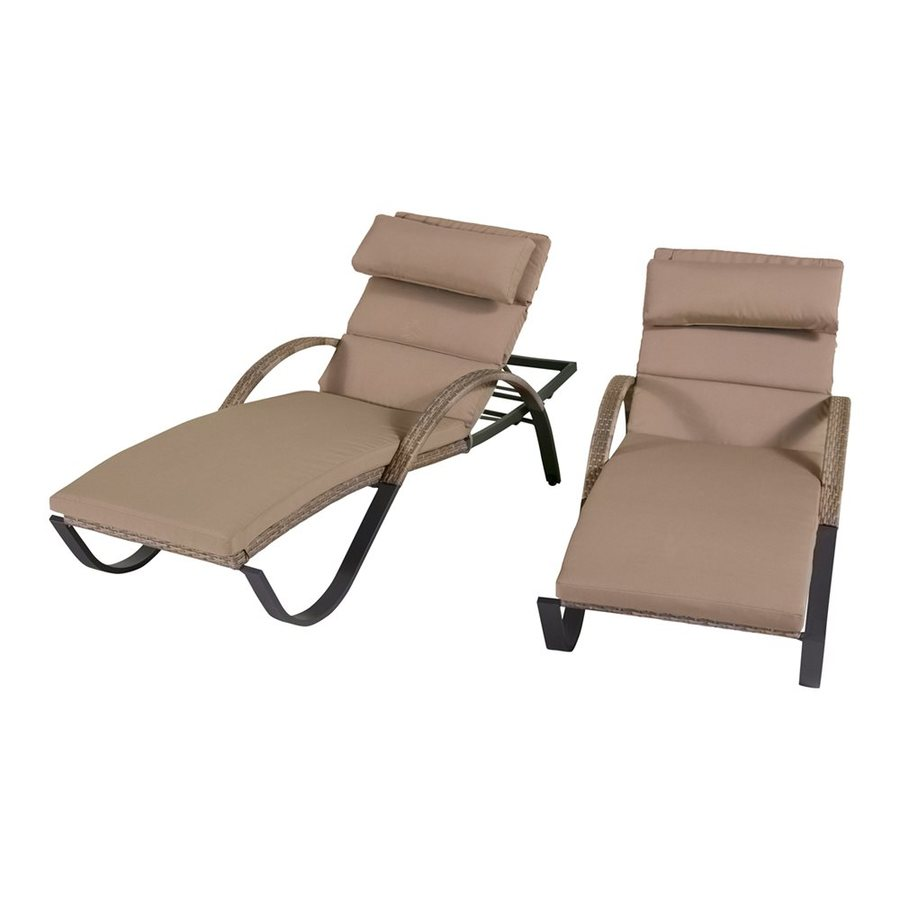 RST Brands Cannes 2-Count Espresso Wicker Stackable Patio Chaise Lounges