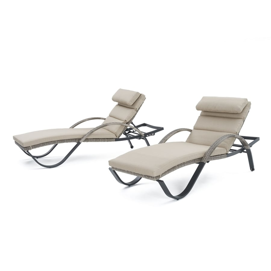RST Brands Cannes 2-Count Weathered Grey Wicker Stackable Patio Chaise Lounges