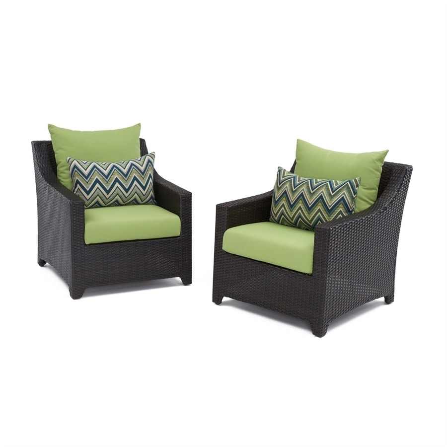 RST Brands Deco 2-Count Espresso Aluminum Wicker Patio Conversation Chair with Ginkgo Green Sunbrella Cushion(S) Included