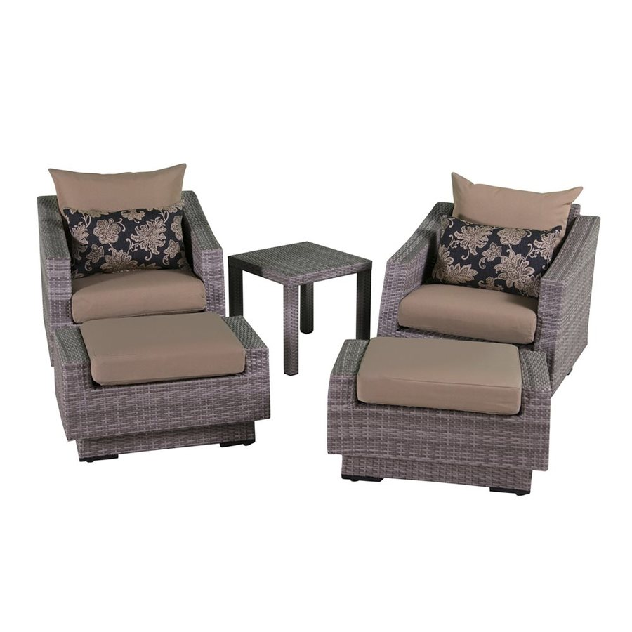 RST Brands Cannes 5-Piece Wicker Patio Conversation Set