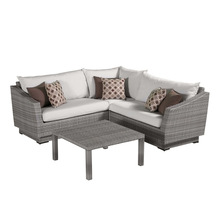 Shop Rst Brands Cannes 4 Piece Wicker Frame Patio Conversation Set With Moroccan Cream Sunbrella