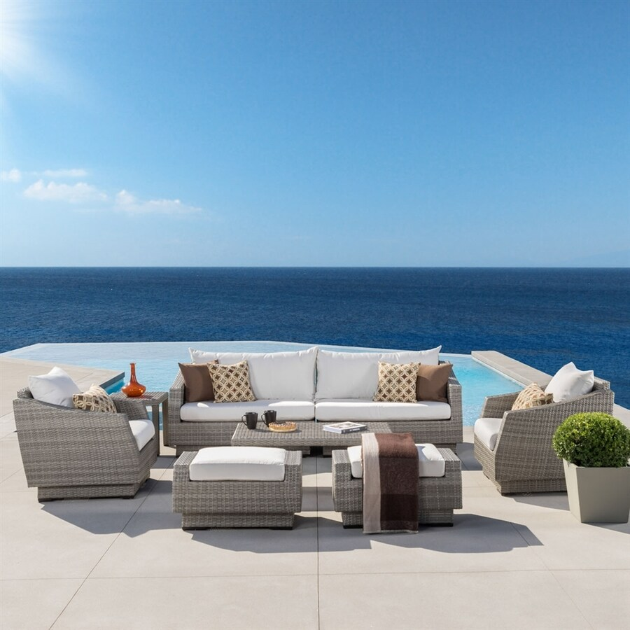 Shop Rst Brands Cannes 8 Piece Wicker Patio Conversation Set At
