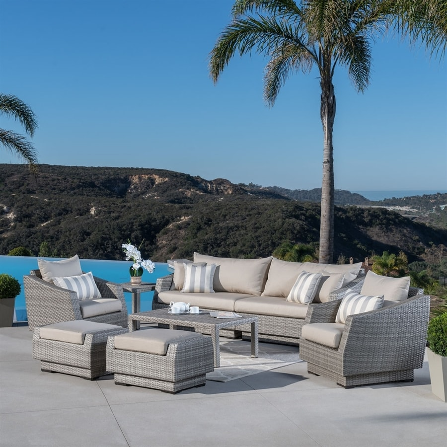RST Brands Cannes 8-Piece Wicker Patio Conversation Set