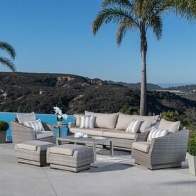 RST Brands Cannes 8 Piece Wicker Patio Conversation SetShop Patio Furniture Sets at Lowes com. Lowes Outdoor Living Sets. Home Design Ideas