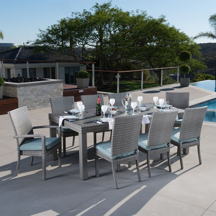 RST Brands Cannes 9-Piece Bliss Blue Patio Dining Set