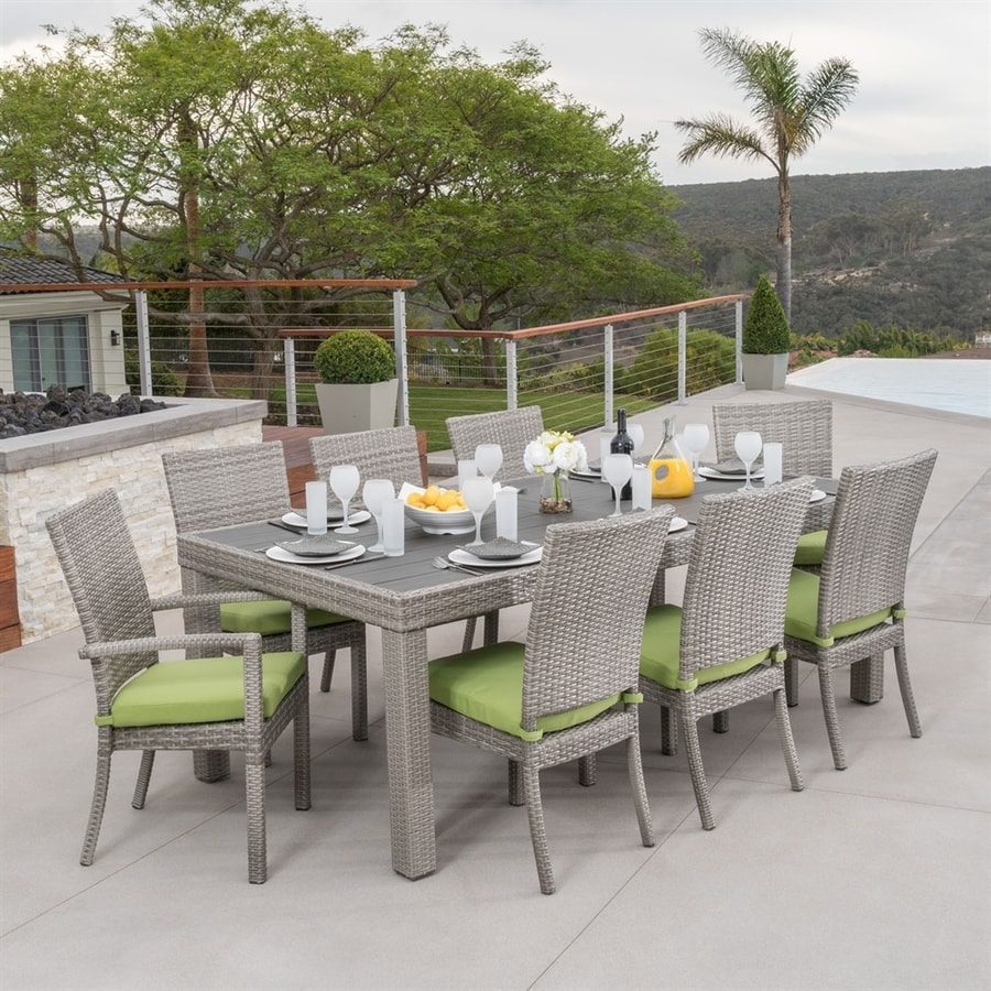 RST Brands Cannes 9-Piece Ginkgo Green Patio Dining Set
