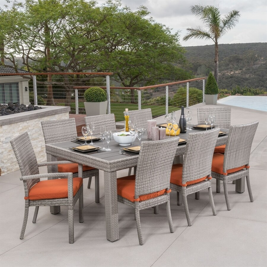 RST Brands Cannes 9-Piece Weathered Grey Wicker Dining Patio Dining Set with Tikka Orange Sunbrella Cushion