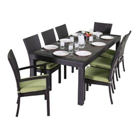 RST Brands Deco 9 Piece Brown Wood Frame Wicker Patio Dining Set With  Ginkgo Green