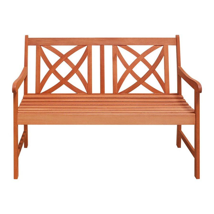 VIFAH 24-in W x 48-in L Eucalyptus Patio Bench