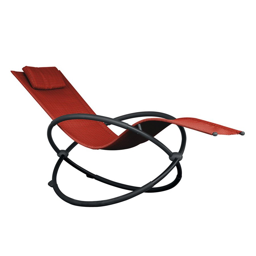 Vivere Orbital Charcoal Steel Patio Chaise Lounge