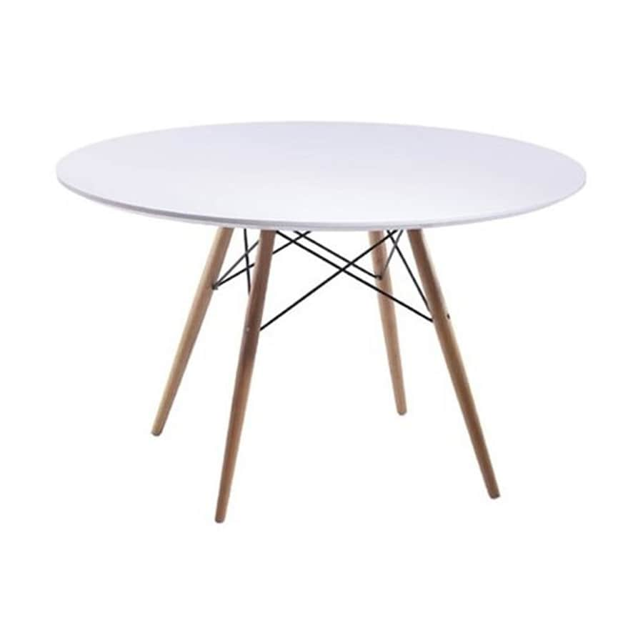 Fine Mod Imports White Fibergl Round Dining Table
