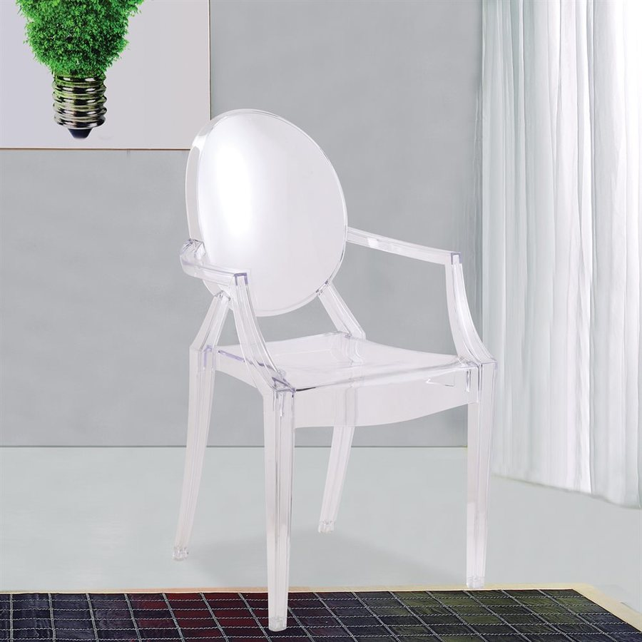 Fine Mod Imports Modern Clear Plastic Accent Chair