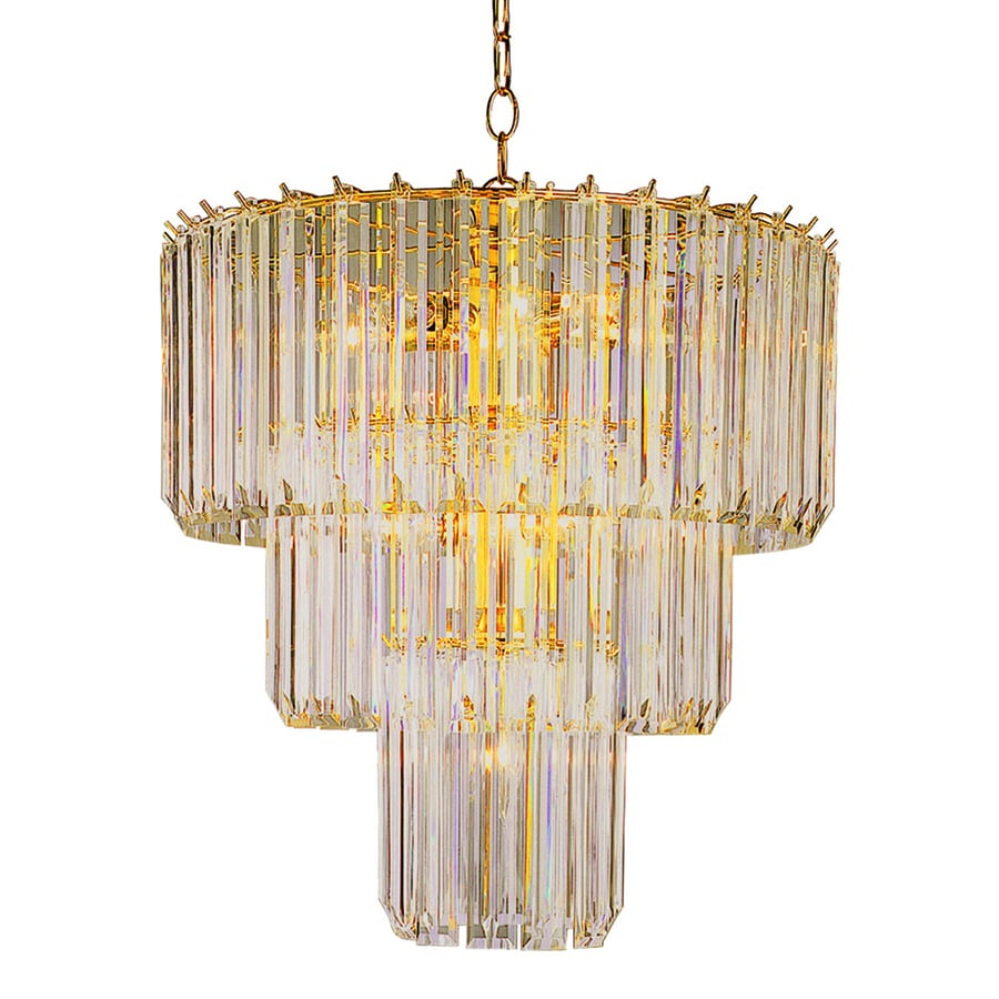 Trans Globe 20-in 9-Light Polished brass Crystal Waterfall Chandelier