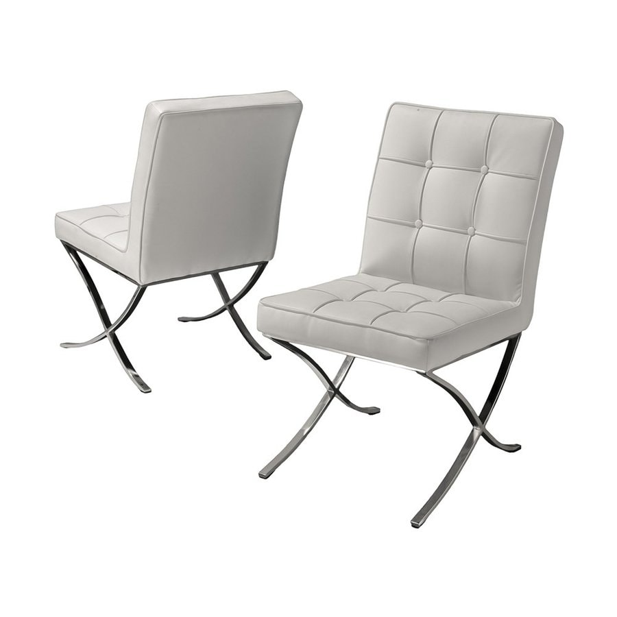Best Selling Home Decor Set of 2 Milania White Bonded Leather Chairs