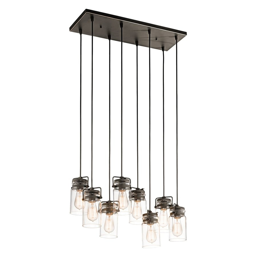 Kichler Brinley 10.25-in Olde Bronze Industrial Hardwired Multi-Light Clear Glass Jar Pendant