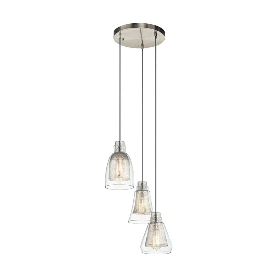Kichler Evie 14.25-in Brushed Nickel Vintage Hardwired Multi-Light Mercury Glass Bell Pendant