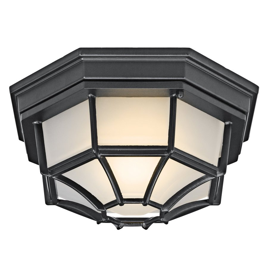 Kichler Lighting 11.25-in W Black Outdoor Flush-Mount Light