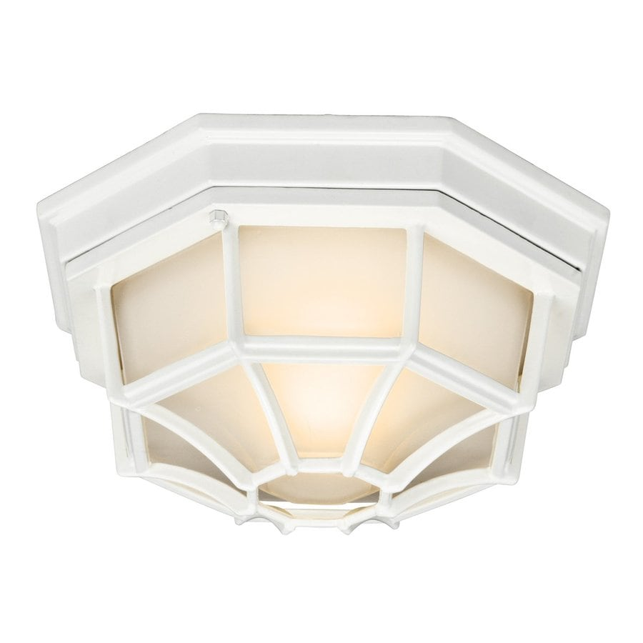 Kichler 11.25-in W White Outdoor Flush-Mount Light