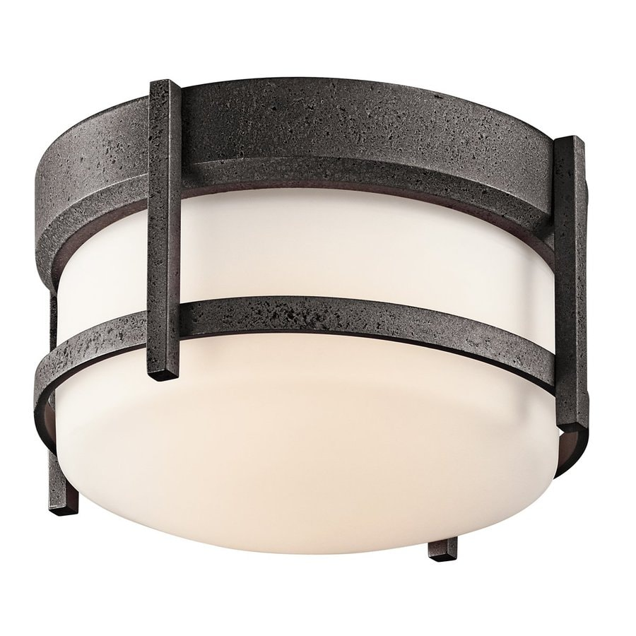 Kichler Lighting Camden 9.75-in W Anvil Iron Outdoor Flush-Mount Light