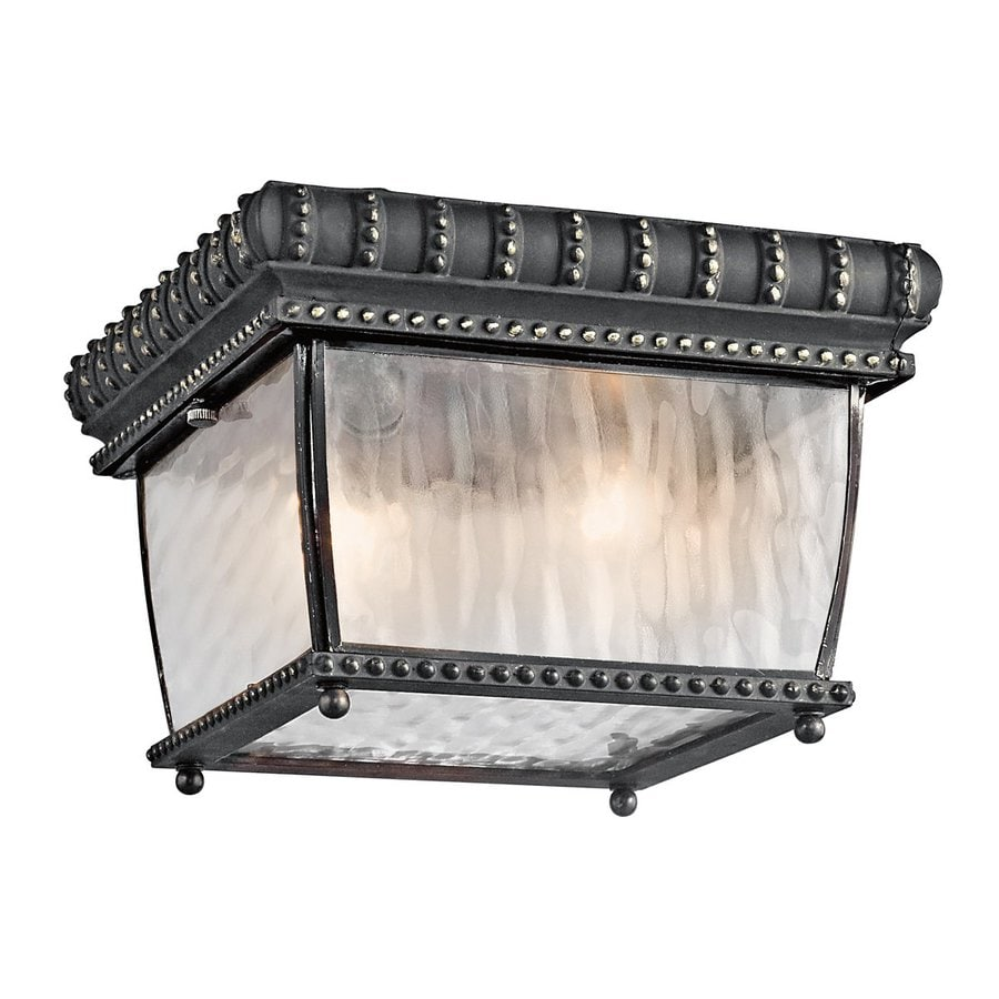 Kichler Venetian Rain 9.25-in W Black with Gold Outdoor Flush-Mount Light