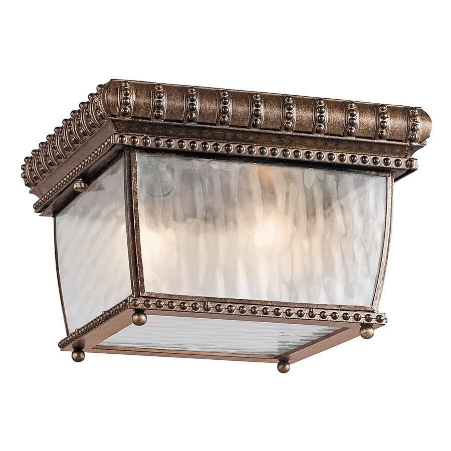 Kichler Venetian Rain 9.25-in W Bronze Outdoor Flush-Mount Light