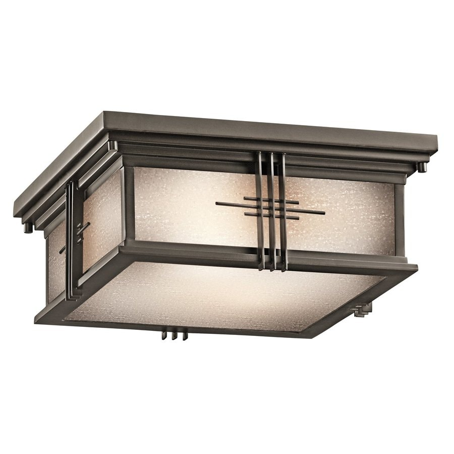 Kichler Portman Square 12-in W Olde Bronze Outdoor Flush-Mount Light