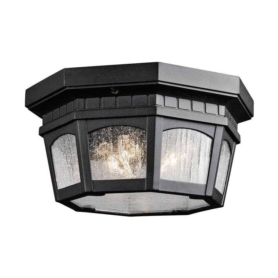 Kichler Courtyard 12.25-in W Textured Black Outdoor Flush-Mount Light